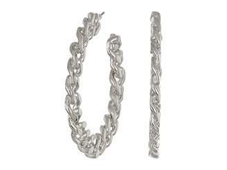 Kenneth Jay Lane Polished Silver Link Hoop Pierced Earrings
