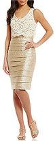 London Times Lace Popover Shimmer Shutter Dress