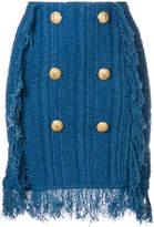Balmain button-embellished knit skirt