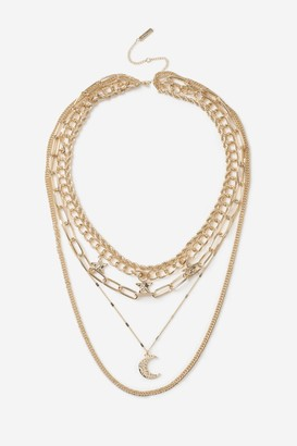 Topshop Womens **Star Moon Multirow Necklace - Gold