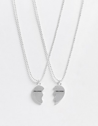 Pilgrim silver plated friendship heart pendant necklace in silver