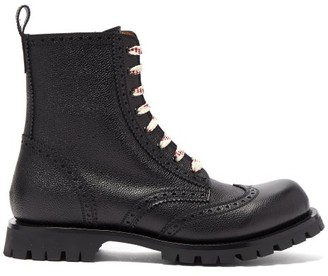 Gucci Lace-up Leather Brogue Boots - Black