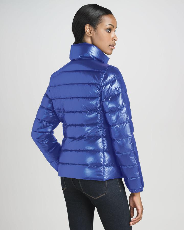 Moncler Short Laque Puffer Jacket, Royal