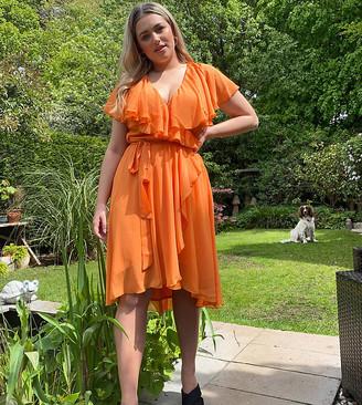 ASOS DESIGN Curve cape back dipped hem midi dress in orange