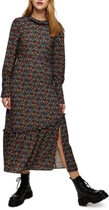 Topshop Floral Ruffle Hem Long Sleeve Midi Dress
