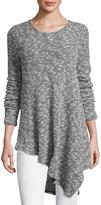 Three Dots Asymmetric Hem Sweater, Black/White