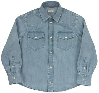 Brunello Cucinelli Lightweight Aged Denim Shirt With Snaps And Chest Pockets