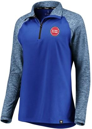 Möve Women's Fanatics Branded Blue/Heathered Blue Detroit Pistons Made to Static Performance Raglan Sleeve Quarter-Zip Pullover Jacket