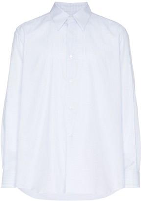 Raf Simons Square Print And Plastic Pocket Cotton Shirt