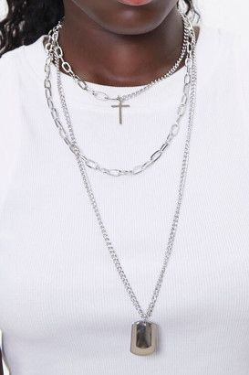Forever 21 Dog Tag Cross Charm Necklace