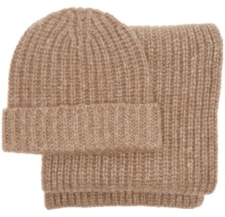 Johnstons of Elgin Cashmere Beanie Hat And Scarf Set - Brown