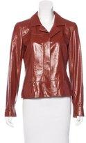 Chanel Leather Notch-Lapel Blazer