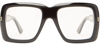 Gucci Oversized Square Frame Acetate Glasses - Mens - Black