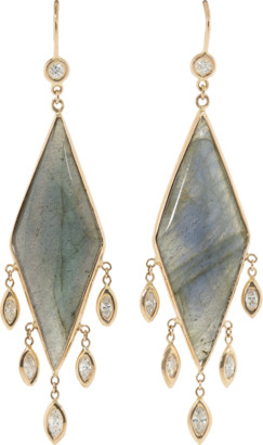 Jacquie Aiche Labradorite Pillow Kite Diamond Earrings