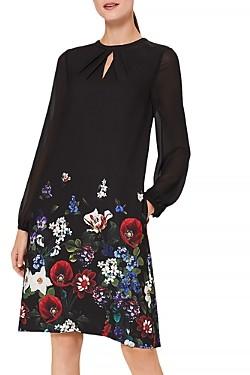 Hobbs London Aura Floral Print Sheer Sleeve Dress
