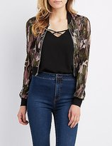 Charlotte Russe Camo Micro Pleated Bomber Jacket