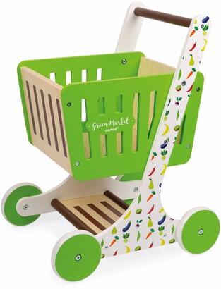Janod Green Market Shopping Cart Play Set