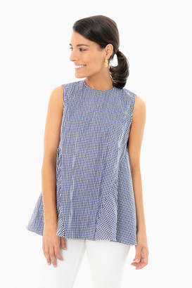 Fabiana Pigna Navy Gingham Lucia Sleeveless Top