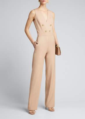 Balmain Button-Front Crepe Sleeveless Jumpsuit