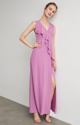BCBGMAXAZRIA Sleeveless Cross-Front Ruffle Gown