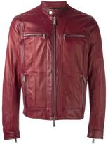 DSQUARED2 zipped panel leather jacket - men - Cotton/Leather/Polyester - 46