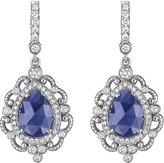 Penny Preville 18k White Gold Diamond & Sapphire Scroll Drop Earrings