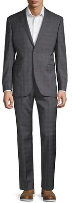 Saks Fifth Avenue 2-Piece Plaid Trim Fit Suit
