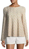 M Missoni Metallic-Knit Jersey Swing Top