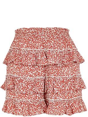 River Island Floral Print Ruffle Shorts