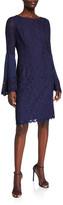 N. Shani Boho Flared-Sleeve Lace Sheath Dress