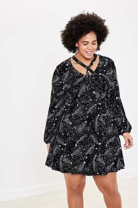 Oasis Womens Curve Black Star Pussybow Skater Dress - Black