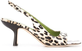 BY FAR Lopez leopard-print sandals