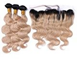 Tony Beauty Hair Honey Blonde Ombre 1B 27 Hair Extension With Ear To Ear 13x4 Lace Frontal Dark Root Hair Bundles With Frontal Closure (30 30 30+24 inch Frontal)