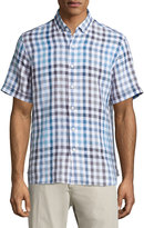 Neiman Marcus Linen Check Short-Sleeve Shirt, Lake