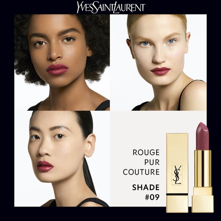 Saint Laurent Rouge Pur Couture Lipstick 09 and Black Reptile Cap Set