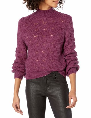 ASTR the Label Women's Audra Soft Pointelle Knit Classic Sweater