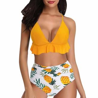 Adisputent Womens Swimwear Pineapple Print 2 Piece Push Up Bikini Set High Waisted Swimsuit Swimwear Ruffled Bathing Suit