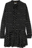 Saint Laurent Polka-dot Crepe Mini Dress - Black
