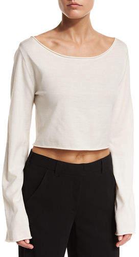 A.L.C. Leandra Raw-Edge Cropped Sweater
