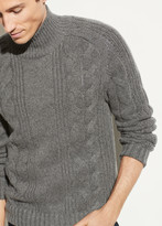 Wool Cashmere Cable Turtleneck