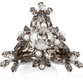 Givenchy Cocktail Ring In Palladium-tone Brass, Crystal And Faux Pearl - Gray