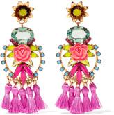 Elizabeth Cole Gold-tone tasseled resin stone and crystal earrings