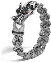 John Hardy Sterling Silver Naga Medium Braided Chain Dragon Head Bracelet with African Ruby and Black Sapphire