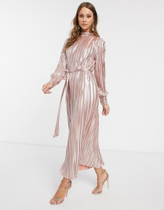 Forever U metallic pleated midaxi dress in rose gold