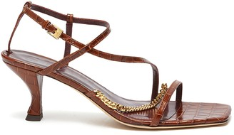 STAUD Gita' Square Toe Metal Chain Detail Leather Heeled Sandals