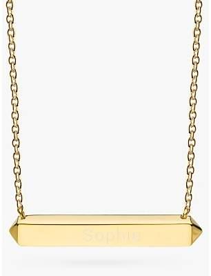 Kit Heath Personalised Sterling Silver Manhattan Bar Pendant Necklace