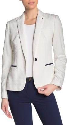 Calvin Klein Elbow Patch Textured One Button Jacket