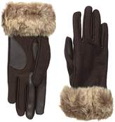 Isotoner Women's Boiled Wool smarTouch Gloves with Faux Fur
