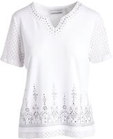 Alfred Dunner White Ornate Mesh-Sleeve Top - Petite