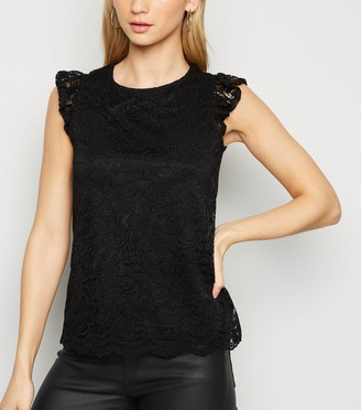 New Look Mesh Lace Scallop Trim T-Shirt